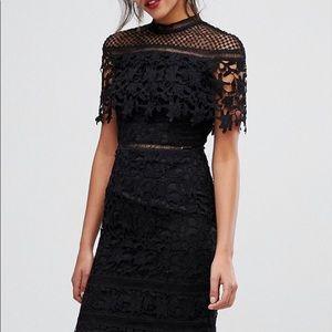 NWT! Chi Chi London High Neck Lace Black Dress